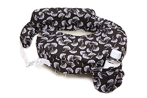 My Brest Friend 100% Cotton Nursing Pillow Original Slipcover - Machine Washable Breastfeeding Cushion Cover - Pillow not Included, Flowing Fans (Black & White)