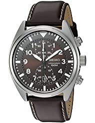 Seiko Mens SNN241 Stainless Steel Watch with Brown Leather Band