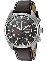 Men's SNN241 Stainless Steel Watch with Brown Leather Band
