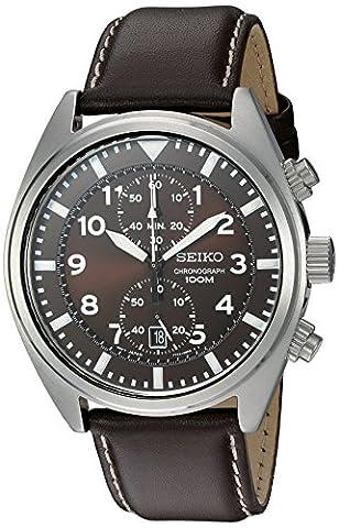 Seiko Men's SNN241 Stainless Steel Watch with Brown Leather Band (Chronograph Seiko)