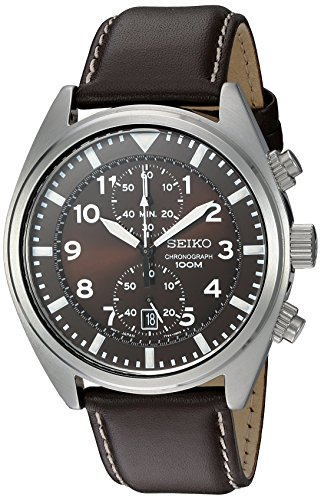 Seiko Men's SNN241 Stainless Steel Watch with Brown Leather Band Automatic Watch Stainless Steel Band