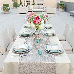 """QueenDream 14""""x80""""silver sequin christmas table runners Sequin Table Runner For Wedding And Event"""