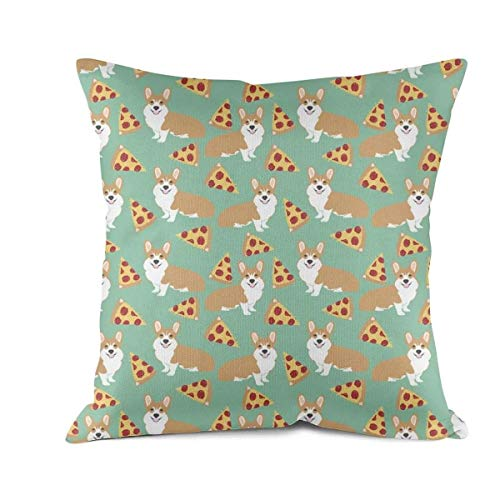 Covers Corgi Pizza for Dog Sofa Cushion Pillowcases (18x18 Inch) ()