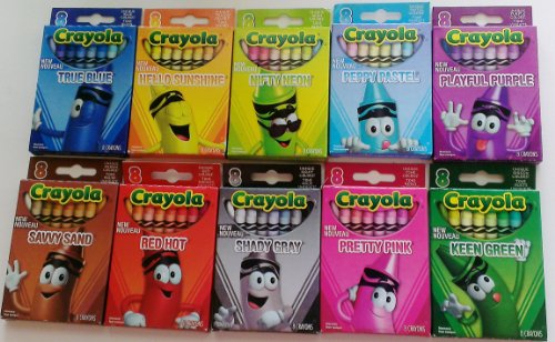 Amazon Crayola Limited Edition Crayon Sets Ten 8 Pack Of Red Hot Shady Gray Nifty Neon Pretty Pink Peppy Pastel Keen Green Playful Purple