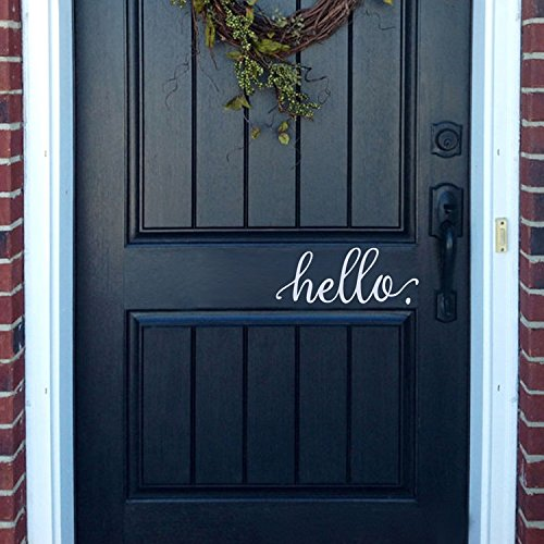 "BATTOO Hello Wall Decal Farmhouse Wall Decor Hello. Door Decal Vinyl Lettering for Front Door Country Cottage Decor(9""X 4"",white)"