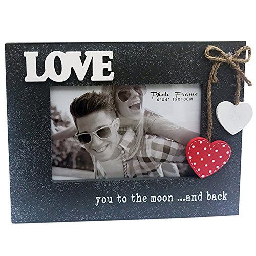 "4x6"" Wooden Photo Frame with words ""LOVE you to the moon"