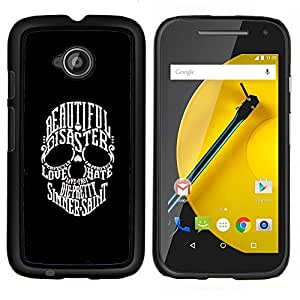 All Phone Most Case / Oferta Especial Duro Teléfono Inteligente PC Cáscara Funda Cubierta de proteccion Caso / Hard Case Motorola Moto E2 E2nd Gen // Beautiful Sinner Saint Duality Skull