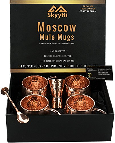 Set of 4 Moscow Mule Copper Mugs Gift Set (Premium 1/2 LB Each!) with Jigger Shot Glass and Spoon – Four 18 Oz Copper Moscow Mule Mugs – Solid 100% Copper Hammered Mug – Copper Cups for Moscow Mules