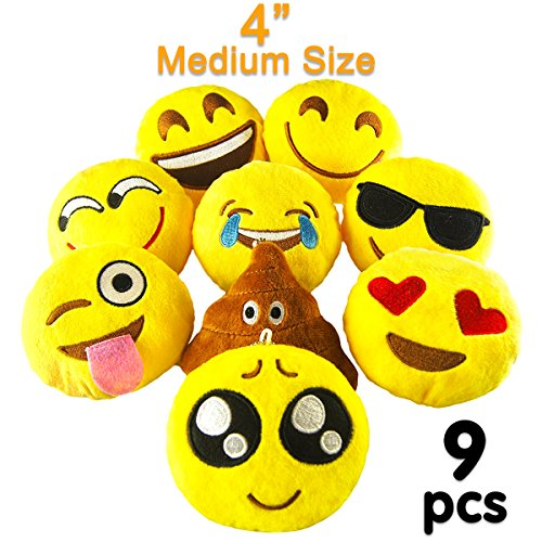 Pawliss Emoji Mini Stuffed Plush Toy Emoticon Throw Pillow Cushion 9 Pack