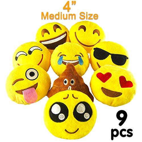 Pawliss Emoji Mini Stuffed Plush Toy Emoticon Throw Pillow Cushion 9 Pack by Pawliss