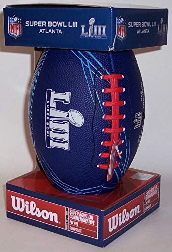 10 Game Replica - Super Bowl LIII 53 Wilson NFL Composite Leather Replica Game Model Pee Wee Size 10