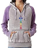 Cheap Yoga Clothing For You Ladies Colored Chakras Acid Wash Burnout Hoodie, Large Cement/Very Berry