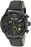SO&CO New York Men's 'Monticello' Quartz Stainless Steel and Leather Sport Watch, Color:Black (Model: 5279.1)