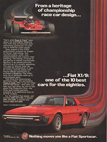 - Magazine Print Ad: Red 1982 Fiat X1/9, Mid-engine, Targa-top,