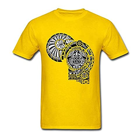 Mens Dwayne Johnson The Rock Tattoo Tee 100% Cotton Tshirt Yellow XS (Warrior Cat Necklace)