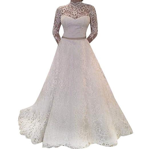 Amazon Com Nevera Women S Long Sleeve Lace Fitted Wedding Dresses