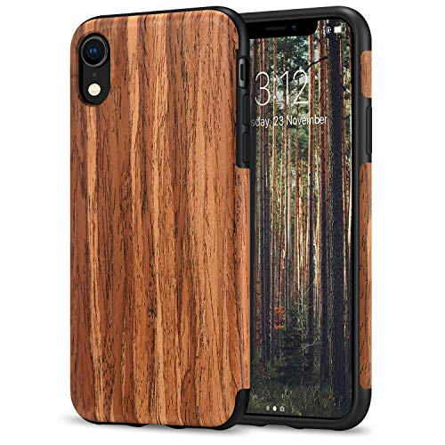 TENDLIN Compatible with iPhone XR Case Wood Grain Outside Design and Flexible TPU Silicone Hybrid Slim Case Compatible with iPhone XR 2018 (Red Sandalwood)