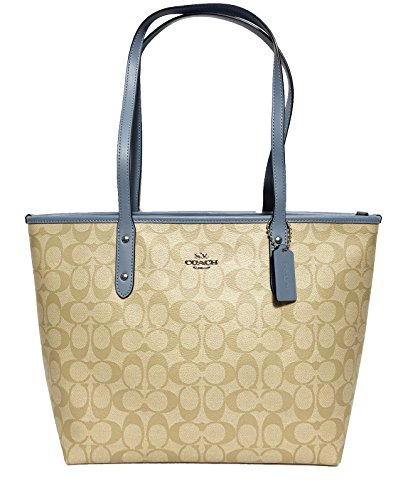 Coach Signature PVC City Zip Tote Light Khaki/Blue 9222