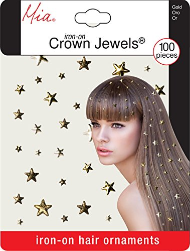 Mia Crown Jewels-Hair Ornaments/Decoration That Iron Onto The Hair-Gold Stars-Varying Sizes (100 pieces per (Star Shape Jewel)