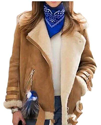 Biker Jacket Winter amp;W Coat Suede Wool Fleece Outwear Women's M amp;S 3 cFO8wxzqS1