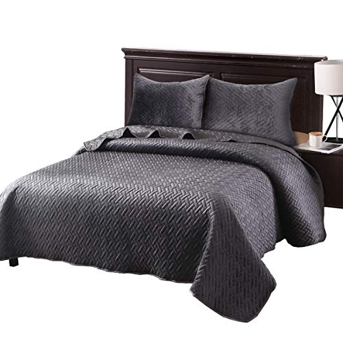 (Exclusivo Mezcla Luxurious 3-Piece King Size Velvet Quilt Set with Pillow Shams, as Bedspread/Coverlet/Bed Cover(Solid Grey) - Soft, Lightweight, Reversible& Hypoallergenic)