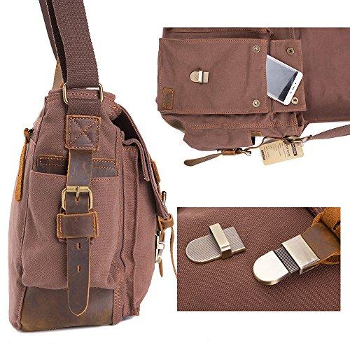 WalkingToSky bolso de mensajero Vintage Militar de tela de cuero hombro portátil bolsas para hombres y mujeres (15.6 pulgadas café) 15.6 pulgadas café