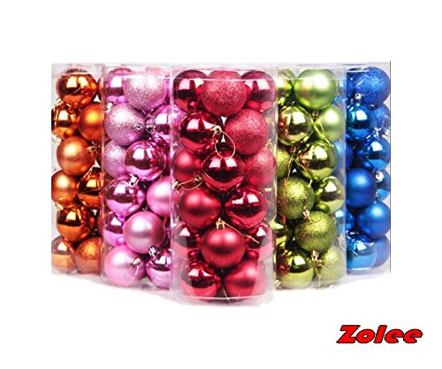 Zolee 24ct/barrel 3.1''in/80mm Christmas Balls Ornament for Holiday Xmas Garden Decorations (3.1''in/80mm, Blue)