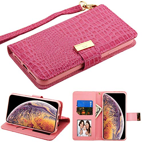 (Case+Tempered_Glass, PU Leather Purse Clutch Fits Apple iPhone Xs MAX/XS Plus Hot Pink Crocodile-Embossed)