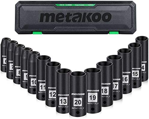 3/8 Drive Impact Socket Set, METAKOO 15PCS Metric Deep Impact Sockets, 6mm - 20mm, Cr-V, 6-Point - MISS02