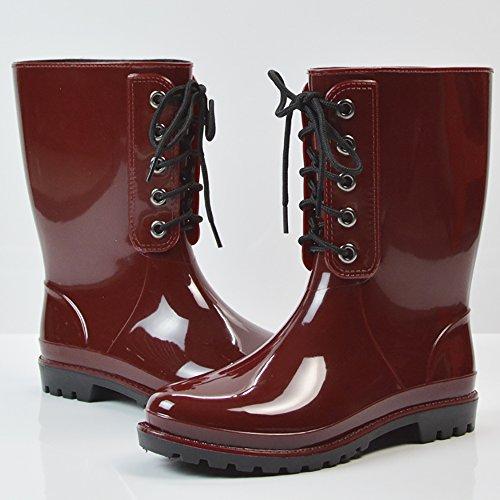 Qzunique Femmes Anti-dérapant Caoutchouc Demi Bottes De Pluie Imperméable Martin Pluie Chaussures Vin Rouge-1