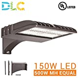 150W LED ShoeBox Pole Light Replacement (500W MH Equal), 5000K CCT, 19,355 Lumen, 100-277VAC, Direct Mount, Surge Protector Included, Type III Distribution, IP65 Rated, DLC Qualified, UL Listed