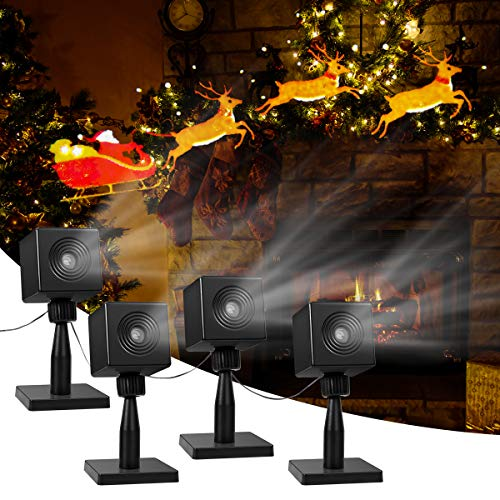 Outdoor Santa Small Light (YUNLIGHTS Christmas Light Projector Santa Reindeer LED Projector Light Outdoor Christmas Decorations, Holiday Projector for Pathway, Home, Party, Garden Decor,Set of 4)