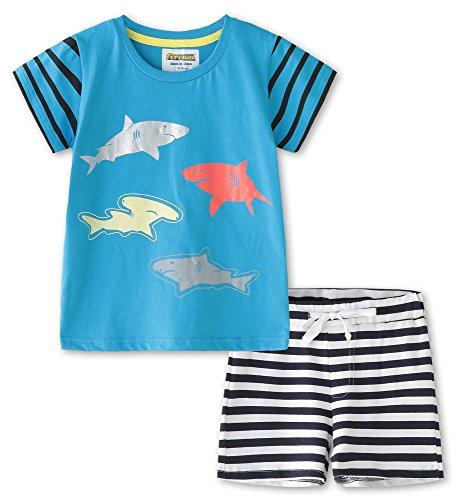 Fiream Little Boys Cotton Clothing Short Sets(Blue,3T)