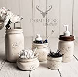 Farmhouse Bathroom Vanity Antique White Rustic Mason Jar Bathroom Set  White Bathroom Storage Set  Farmhouse Bathroom Decor  Rustic Bathroom Decor  Vintage Decor  Rustic Kitchen Decor  Farmhouse Kitchen Decor
