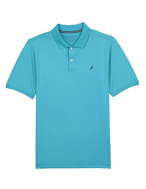 ad0043b6c6aced Nautica Boys' Big Short Sleeve Solid Performance Polo Shirt, Ocean Casper  Blue, Small