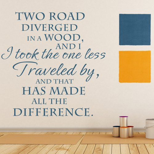 I Took The Road Less Traveled By And That Has Made All The Difference - Vinyl Wall Decal Letters Home Decor Lettering Graphic Calligraphy (Brown, Large)