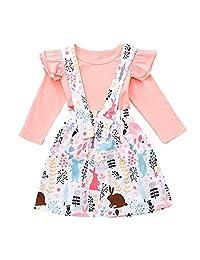 Little Girls Xmas Dress Set Iuhan Baby Girl Tops Bunny Floral Tutu Skirt Party Dress