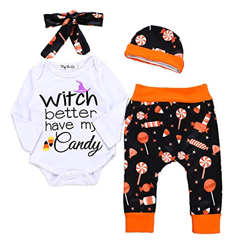 Newborn Baby Boys Girls Halloween Outfits Letter Printed Long Sleeve Romper+Candy Pant+Headband+Hat 4Pcs Set (Multicolor, 80/6-12months) ()