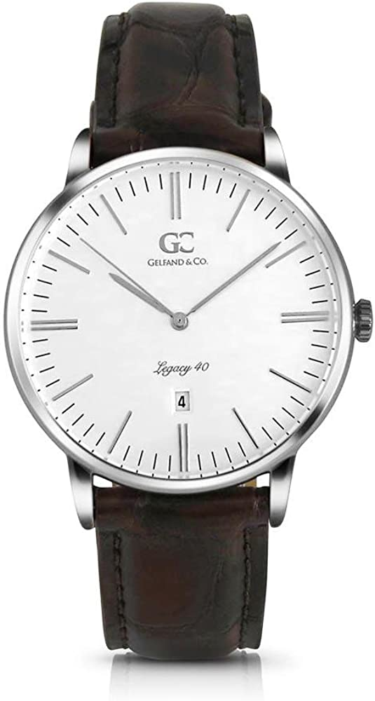 Gelfand & Co. Unisex Minimalist Watch Brown Crocodile Leather Essex 40mm Silver with White Dial