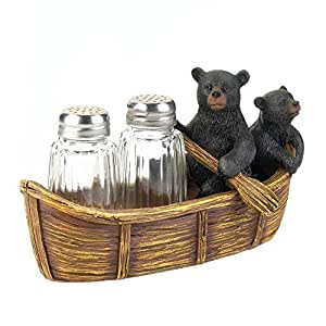 Giftcraft 3-Piece Polyresin and Glass Salt and Pepper Shakers with Tray Set