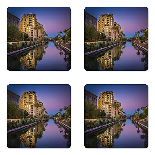 Ambesonne Arizona Coaster Set of 4, Photo of Az Canal in Scottsdale at Sunset with Downtown Architecture, Square Hardboard Gloss Coasters for Drinks, Multicolor (Furniture Scottsdale Az)
