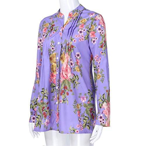 Chemise Tops Fille Mode La Femmes Taille Tops Loisirs Vintage De cou Floral Longue Tops Cardigan Plus Bellelove Tunique Imprimer Violet Dames V Chemisier YRqawtt