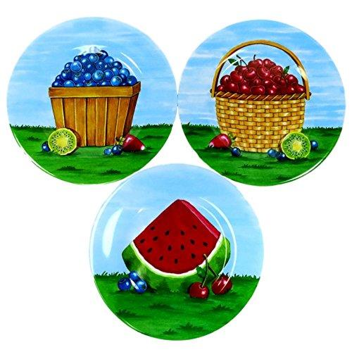 Merritt International Summer Picnic Fruit Basket Melamine 8 Inch Square Salad Snack Dessert Plates Set of ()
