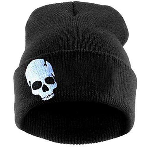 Thenice women's winter wool cap hip hop knitting skull hat (Skeleton white) ()