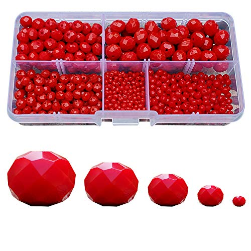 Chengmu 2-10mm Ceramic Red Rondelle Glass Beads for Jewelry Making 710pcs Faceted Briolette Shape Crytal Spacer Beads Assortments Supplies for Bracelet Necklace with Elastic Cord Storage Box