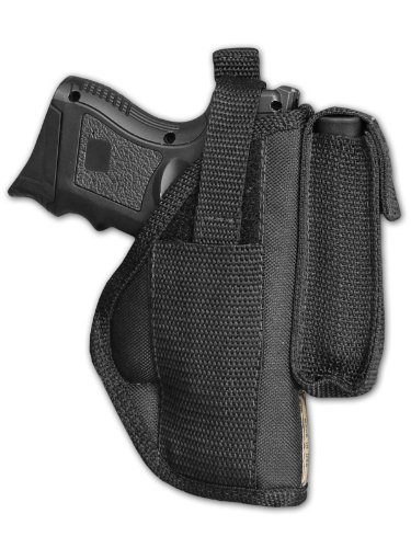 Barsony New Gun OWB Belt Holster w/Magazine Pouch for Compact 9mm 40 45 Pistols (Best Owb Holster For Ruger Sr9c)