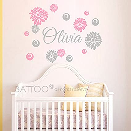 Amazon.com: BATTOO Nursery Name Decal Personalized Baby Girl ...