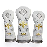 Craftsman Golf Golf Club Pu Leather 3pcs Trident White Headcover Set Sock Covers 1-3-5 (Set of 3) For Driver & Fairway Wood