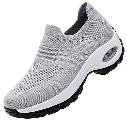RomenSi Women's Fashion Sock Platform Sneakers Tennis Walking Shoes Lightweight Casual SportsSlip on Air Cushion Wedge Loafers Grey 7.5 B(M) US