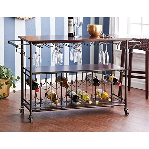 Southern Enterprises Rolden Wine/Bar Cart, Espresso - Espresso Wine Cart